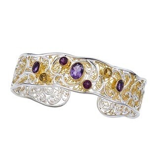 Silver and Gold Overlay Gemstone Cuff
