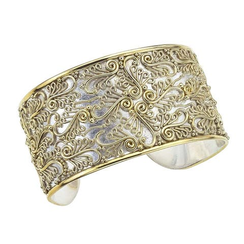Ever One Sterling Silver and Gold Overlay Cuff