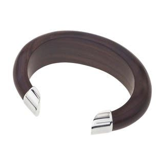 Ever One Rosewood and Silver Tip Thin Oval Cuff|https://ak1.ostkcdn.com/images/products/13251743/P19965410.jpg?impolicy=medium
