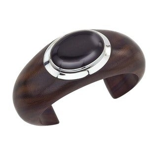 Silver, Onyx, and Rosewood Oval Cuff