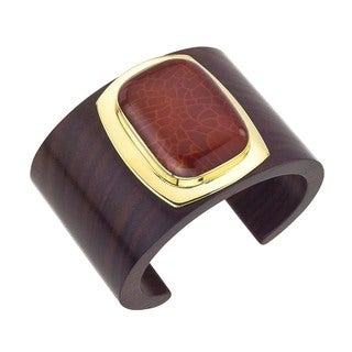 18k Vermeil Gold Rosewood and Carnelian Cuff