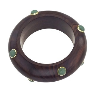 18k Vermeil Gold Rosewood and Aventurine Bangle