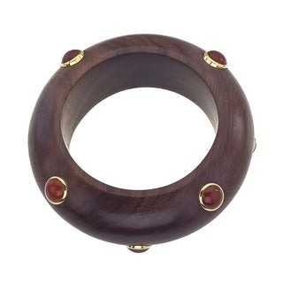 18k Vermeil Gold Rosewood and Carnelian Bangle