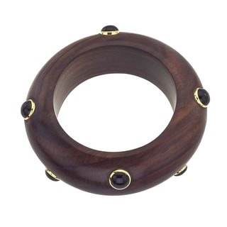 18k Vermeil Gold, Rosewood, and Onyx Stud Bangle
