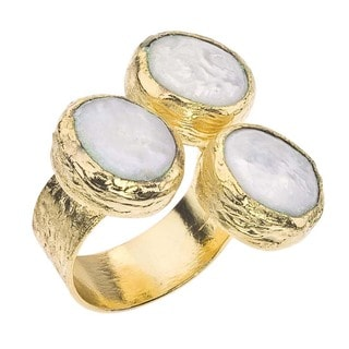 Ever One 18k Goldplated Over Silver Freshwater Pearl Floating Ring