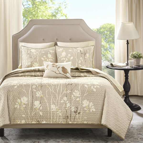 Madison Park Essentials Sonora Taupe Complete Coverlet and Cotton Sheet Set