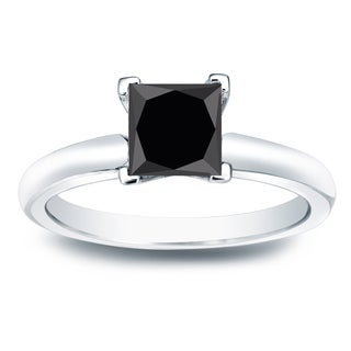 Auriya 14k Gold 1ct Princess Cut Black Diamond Solitaire Engagement Ring