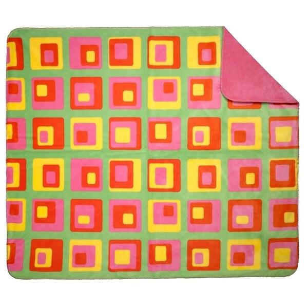 Denali Groovy Squares Pink Punch Plush Throw (60 x 70)