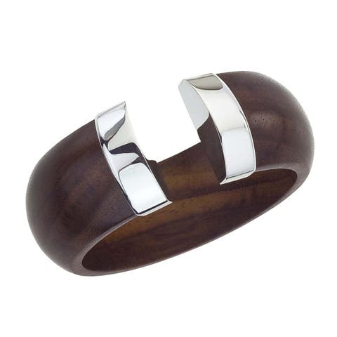 Ever One Rosewood and Silver Tip Cuff - Brown