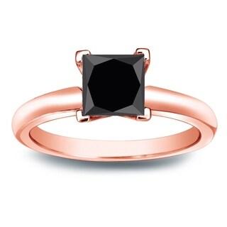 Auriya 14k Gold 1 1/4ct Princess Cut Black Diamond Solitaire Engagement Ring
