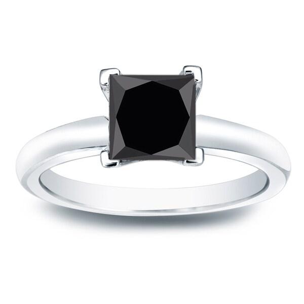 Auriya 14k Gold 1 1/2ct TW Black Princess-Cut Diamond Solitaire Engagement Ring