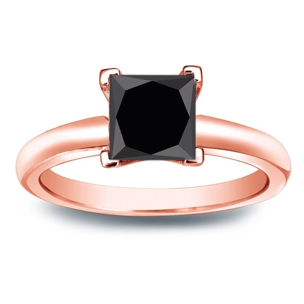 Auriya 14k Gold Princess Cut 1 1/2ctw Black Diamond Ring