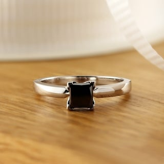 Auriya 14k Gold 1 1/2ct Princess Cut Black Diamond Solitaire Engagement Ring
