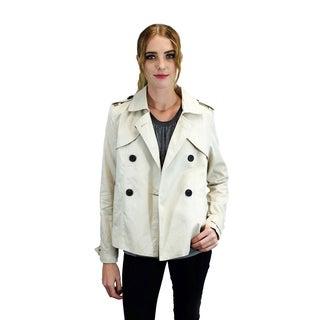 Relished Women's Beige Cotton and Polyester Peacoat