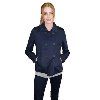Relished Women's Navy Polyester and Cotton Peacoat