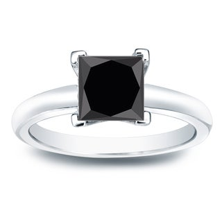 Auriya 14k Gold 2ct Princess Cut Black Diamond Solitaire Engagement Ring