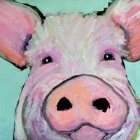 Marmont Hill - 'Pink Pig' by Michelle Rivera Painting Print on Wrapped Canvas