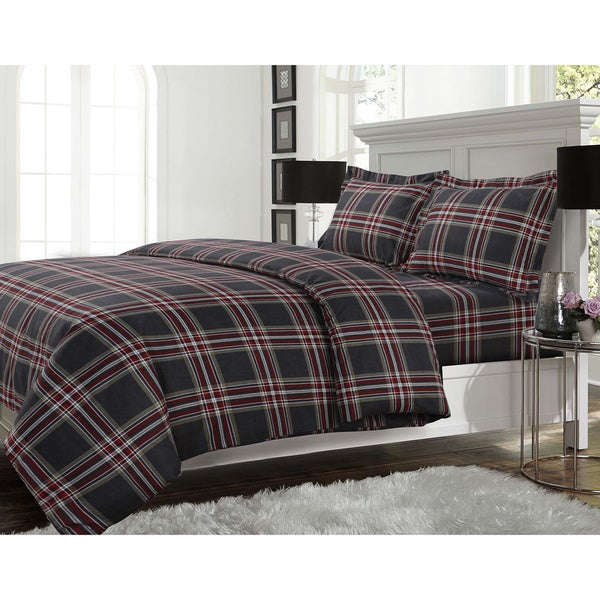 Plaid Flannel Oversize Duvet Cover 3-Piece Set