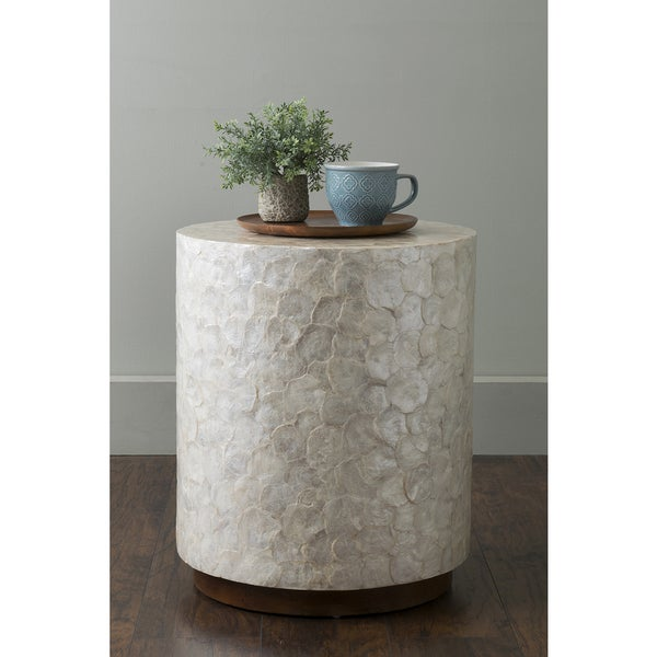 Round White Capiz Coffee Table: Shop East At Main's Sable Off-White Wood And Capiz Round