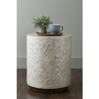 East At Main's Sable Off-White Wood and Capiz Round Accent Table