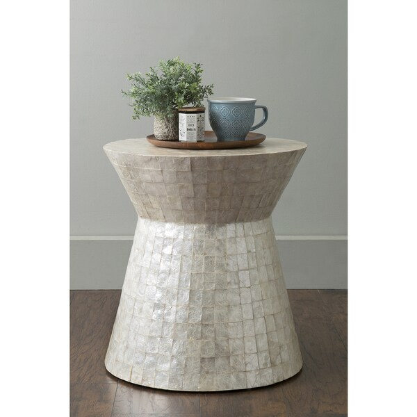 Round White Capiz Coffee Table: East At Main's Rossville Off-White Wood And Capiz Round