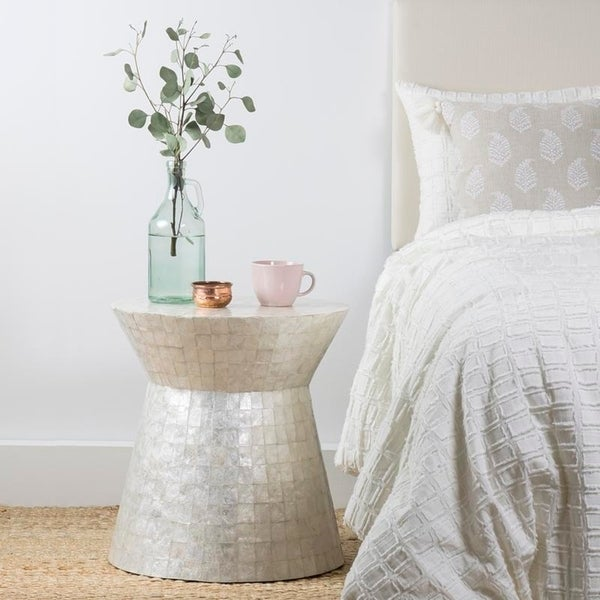 Round White Capiz Coffee Table: Shop East At Main's Rossville Off-White Wood And Capiz
