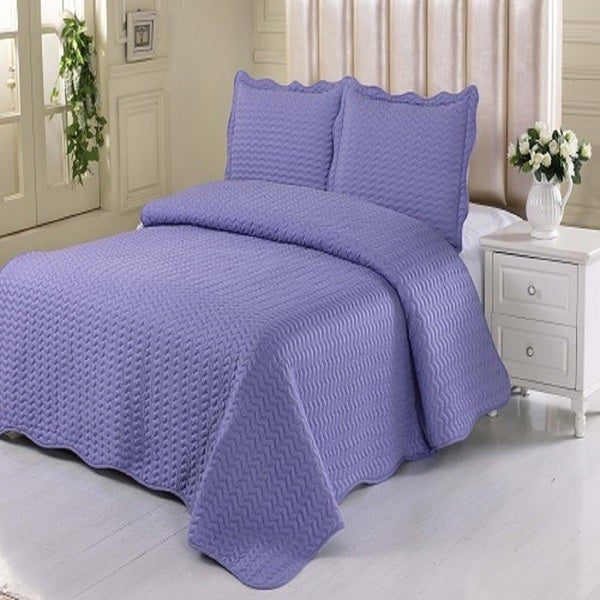 Full/ Queen-size 3-piece Stitched Quilt Set