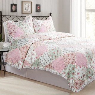 Country Patch Floral Green and Red Plaid Patchwork Quilt Set