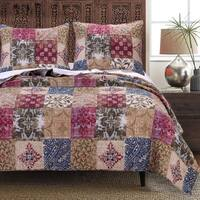 Greenland Home Fashions  Charmed Cranberry 100-percent Cotton Quilt Set