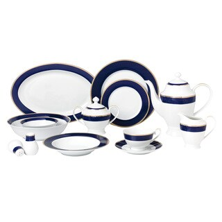 57-piece Bone China Dinnerware Set - Midnight - Gold
