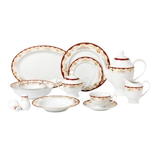 57 Piece Dinnerware Set-New Bone China Service for 8 People-Mabel