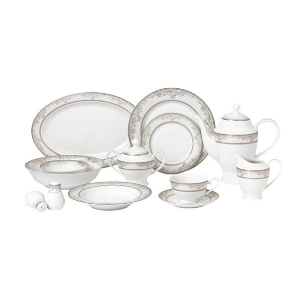 57 Piece Dinnerware Set-New Bone China Service for 8 People-Juliette