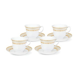 Lorren Home Trends Goldtone Porcelain Tea/Coffe Set (Serves 4)