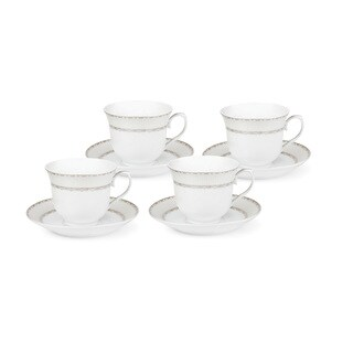 Lorren Home Trends Silver-design Service for 4 Tea/Coffee Set