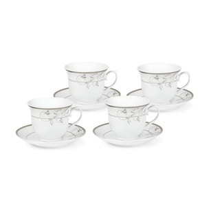 Lorren Home Trends Silver Floral Design Tea Service or Coffe Set for 4