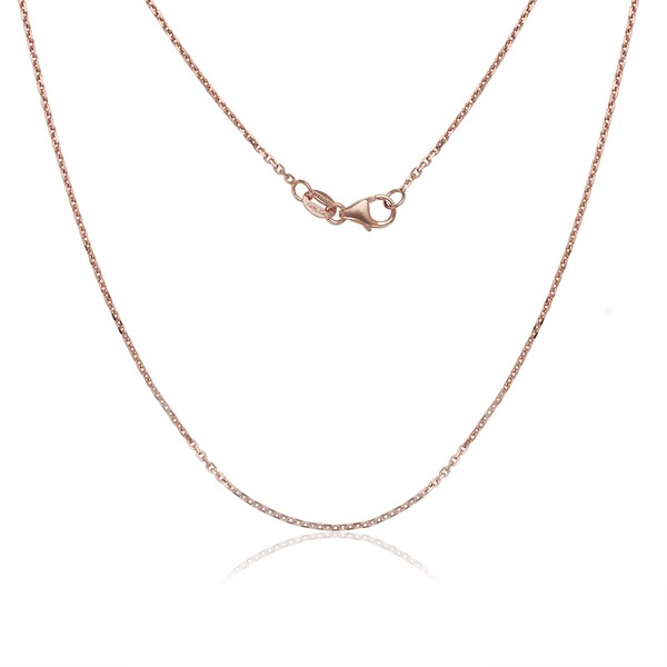 Women  x27 s 14k Rose Pink Gold 0.9-millimeter Cable Link Chain Necklace 22fb783dab