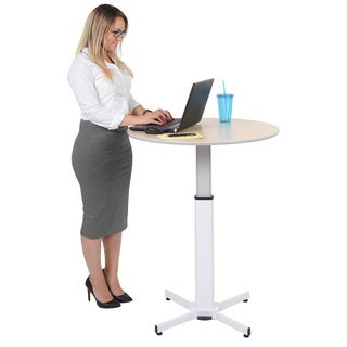 Luxor LX-PNADJ-ROUND White Steel and Laminate Adjustable-height Round Pedestal Desk