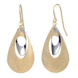 Fremada 14k Two-tone Gold Teardrop Dangle Earrings