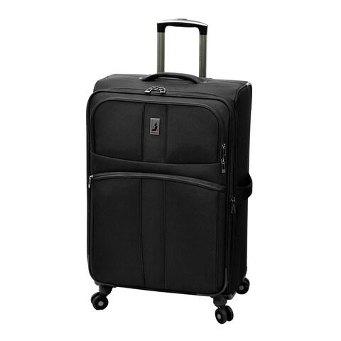 London Fog Wellington Black Polyester 25-inch Expandable 8-wheel Spinner Suitcase
