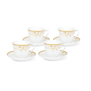 Gold Floral Pattern Tea/Coffee Set for Four