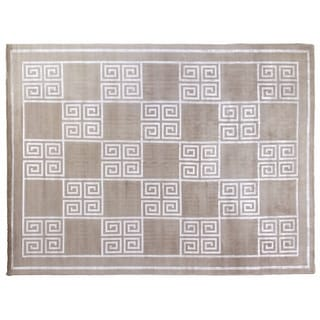 Silver Wool and Silk Tibetan Weave Rug (10' x 14')
