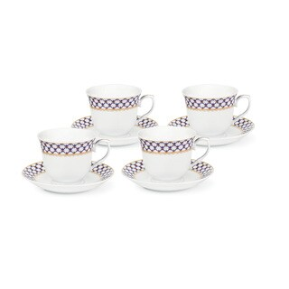Blue and Gold Tea and Coffee Cups (Set of 4)