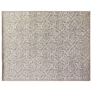 Tibetan-Weave Silver Wool/silk Rug (9' x 12')