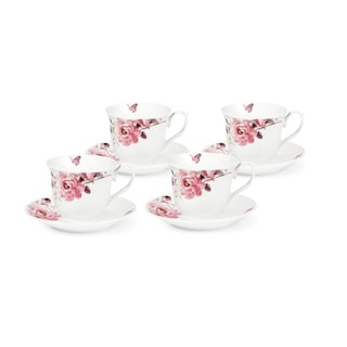 Pink Floral and Butterfly Service for 4 Tea/Coffee Set