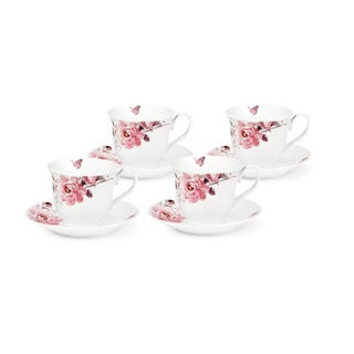 Pink Floral and Butterfly Tea/Coffee Set (Service for 4)