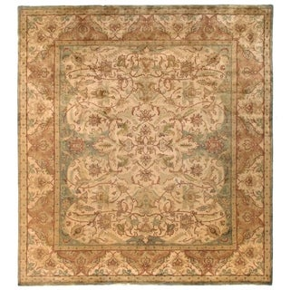 Exquisite Rugs European Polonaise Cream and Sage New Zealand Wool Round Rug (6' Round) - 6' x 6'