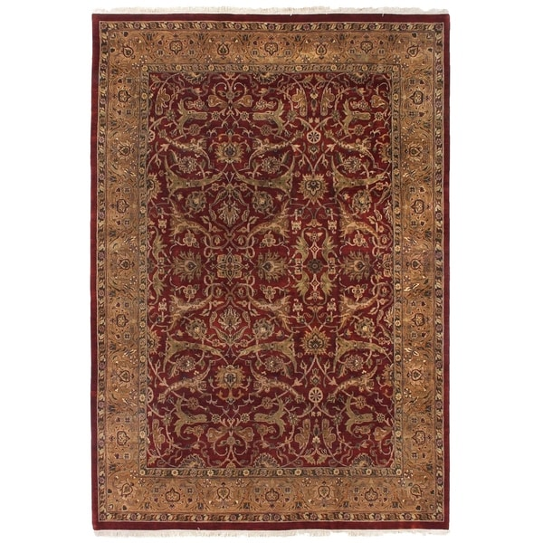 Exquisite Rugs Agra Red / Gold New Zealand Wool Round Rug - 8' x 8'