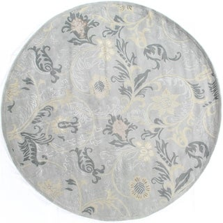 Exquisite Rugs Milano Light Blue New Zealand Wool and Silk Round Rug (8' Round) - 8' x 8'