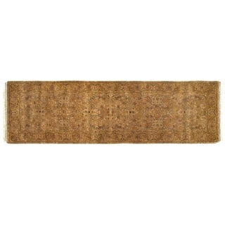 Fine Agra Beige New Zealand Wool Rug Runner (8' x 2')