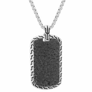 Stainless Steel Hammered Texture Dog Tag Pendant